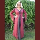 medeltida klänning tvåfärgad